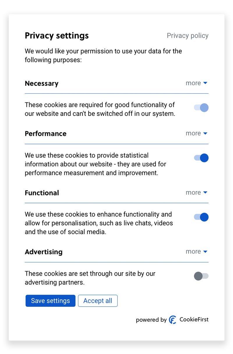 Consent Management Platform CookieFirst - Pannello impostazioni dei cookie