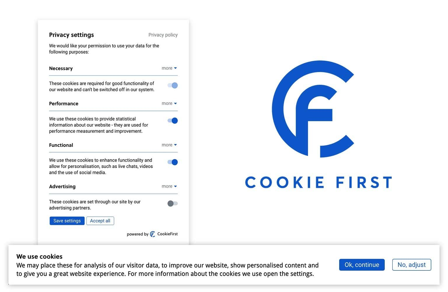 Cookie notice - CookieFirst provides ePrivacy, GDPR, CCPA and LGPD compliant cookie consent