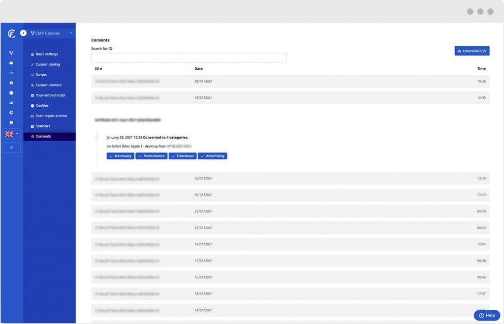 Alternative a Axeptio | Le CMP de CookieFirst offre une piste d'audit des changements de consentement d'un utilisateur.