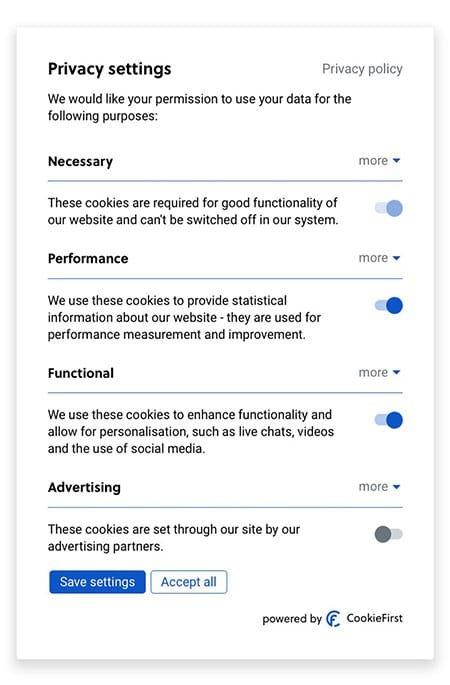 Panneau de préférence pour le cookie consent par CookieFirst